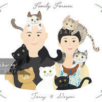 Whimsical Family portrait, couple portrait, with or without pet.