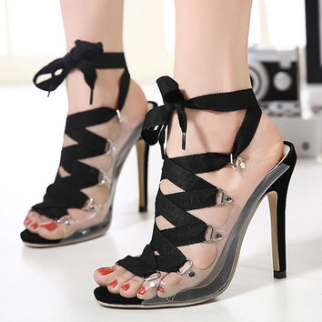 Lace-Up Open Toe High Heels Sandals