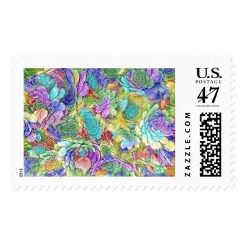 Colorful Nature Succulent Plants Postage Stamp