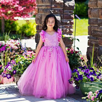 Ariana Pink Lavender Petal Sleeve Satin & Lace Dress Gown