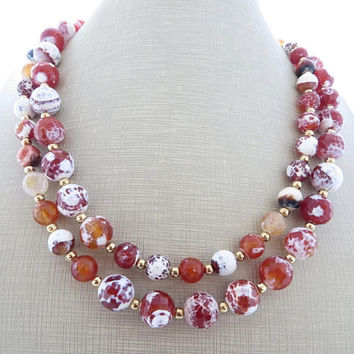 Red agate necklace, long necklace, double strand necklace, beaded necklace, stone necklace, gemstone jewelry, italian jewelry, gioielli