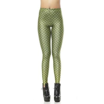 Mermaid Scale Green Leggings