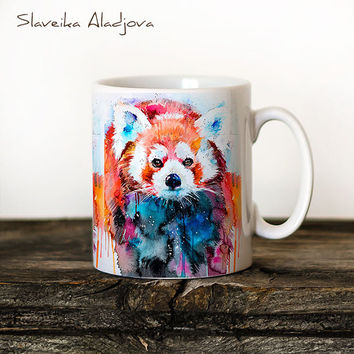 Red Panda Mug Watercolor Ceramic Mug Unique Gift Coffee Mug Animal Mug Tea Cup Art Illustration Cool Kitchen Art Printed mug
