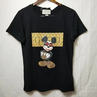s018 fashion GUCCI Women Man Fashion Print Sport Shirt Top Tee s018 fashion