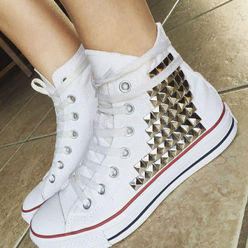 Custom Converse Studded High Tops; Chuck Taylors; ALL SIZES & COLORS! Studded Chucks; Wedding Converse; Custom Shoes; Festival Shoes; Trendy