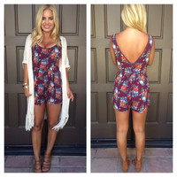 Floral Merlot Romper With Pockets