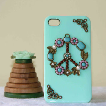 summer trending peace sign protective case for iPhone 5 iPhone 4 iPhone 4s phone case friendship love gifts pearl inlaid