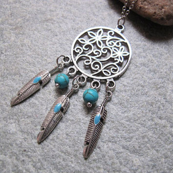 Antique Silver Dream Catcher Necklace , Feather Necklace, Turquoise Beads Necklace ,Native American Jewelry