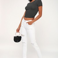 Mia White Distressed Skinny Jeans