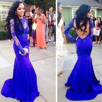 Royal Blue Prom Dresses,Lace Long Sleeve Evening Dresses,Backless Mermaid Sheath Dress