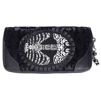 Goth Steampunk Flocked Ribcage Skeleton Cameo Zip Around Wallet