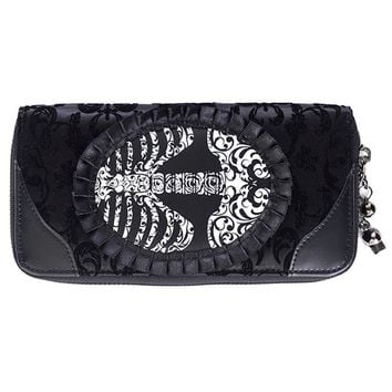 Banned Goth Steampunk Flocked Ribcage Skeleton Cameo Zip Around Wallet