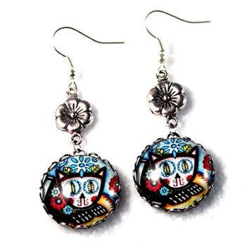 Day of the Dead Cat Earrings, Silver Drop Dangle Earrings, Mexican Cat Art Print, Flower or Bow Charm Jewelry, Blue