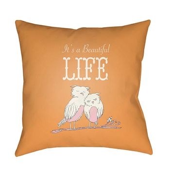 Doodle Pillow Cover - Light Gray, Saffron, White, Pale Pink - DO016