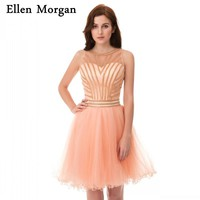 Sexy Back Short Cocktail Dresses Transparent Mini Tulle Back to School Graduation For Girls 2018 Homecoming Party Prom Gowns