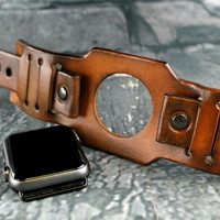 Aged Brown Apple Watch Cuff-Throttle2