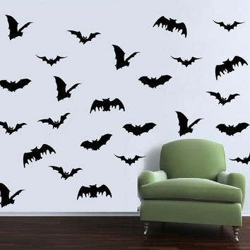 Bats Set of Twenty Five Halloween Removable Vinyl Wall Decals 22455
