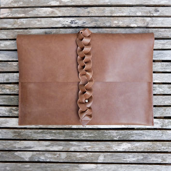 "Leather MacBook Air 13 inch case - Brown leather laptop sleeve - Leather laptop case - 13"" Macbook Air leather cover - Leather clutch"