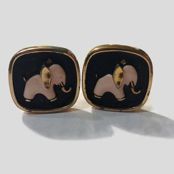 Vintage 1950s Cuff Links, Pink Elephants, Black and Gold Tone with Enamel, Hickock, Tipsy Elephant