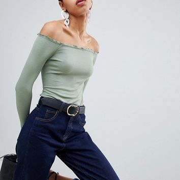 ASOS DESIGN off shoulder body with long sleeves and lettucing at asos.com