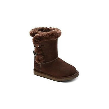 Cherokee Toddler Girls' Dannie Fleece Boots, 6, Ash Brown