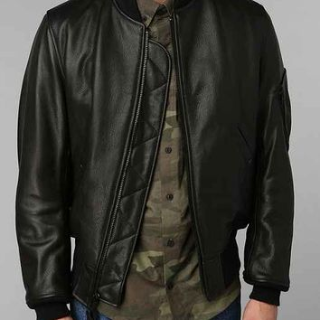 Schott MA-1 Bomber Leather Jacket- Black