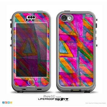 The Grunge Abstract Pink Painted Shapes Skin for the iPhone 5c nüüd LifeProof Case