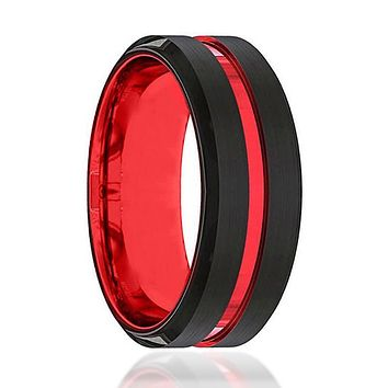 Black And Red Tungsten - Mens Wedding Band - Tungsten Ring - Scarlet Red - Beveled Edge - Tungsten Wedding Band