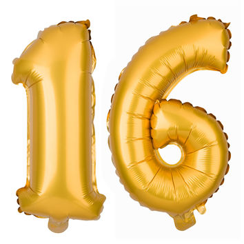 Number 16 Balloons 16 Inch - Gold
