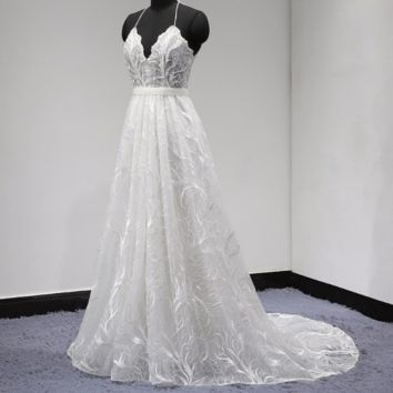 Unique Lace Wedding Dress Halter Backless Pearl Beaded with Detachable Belt A Line