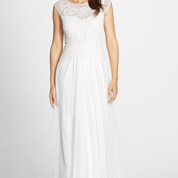 Women's Adrianna Papell Beaded Cap Sleeve Gown,