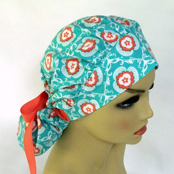 Bouffant Women's Surgical Scrub Hat or Cap Coral and Turquoise
