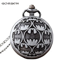 Batman Dark Knight gift Christmas Antique Carving fob Watches Anime Super Hero Batman Quartz Pocket Watch with Chain for men fans Collection Gift Relogio De Bolso AT_71_6