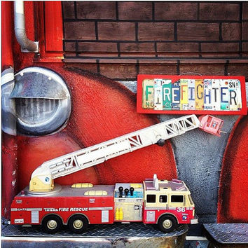 FIREFIGHTER, OOAK License Plate Art, Unique  Decor, Fire Station, Fireman, Father's Day gift, Retirement present, Public Service, Graduation