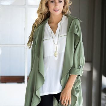 Green Long-Sleeve Lapel Coat