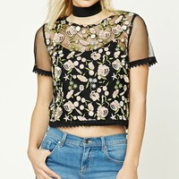 Contemporary Floral Mesh Top
