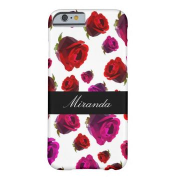 Personalized Floral Roses Barely There iPhone 6 Case