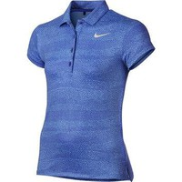 Nike Junior Girls Printed Golf Polo Shirts - Paramount Blue/Metallic Silver