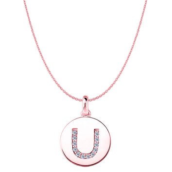 """U"" Diamond Initial 14K Rose Gold Disk Pendant (0.12ct)"