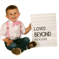 Boys Valentines Outfit -- Pink Suspenders & Blush Pink Bow Tie -- Suspenders Bow Tie -- Ring Bearer Outfit