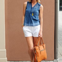Chambray Tank-Gentle Fawn Mecca Tank-$67.00 | Hand In Pocket Boutique