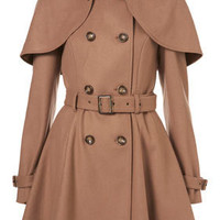 Camel Belted Capelet Trench Coat