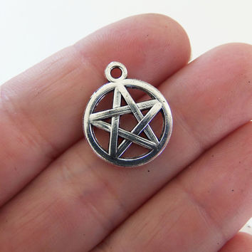 8 pentagram charms, silver pentagrams, pentacle, star, pentagram pendant, wicca charm, wiccan charms, pagan charms, witchcraft charm - F363