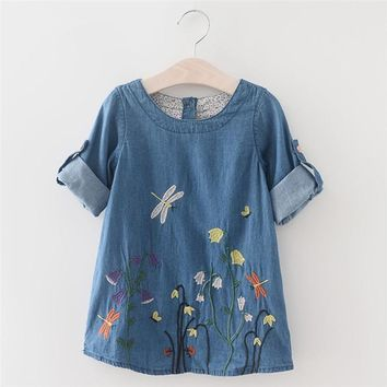 Denim Dress for Girls,Toddler Kids Children Embroidery Flower Pageant Clothes Princess Tutu Dresses for Girl