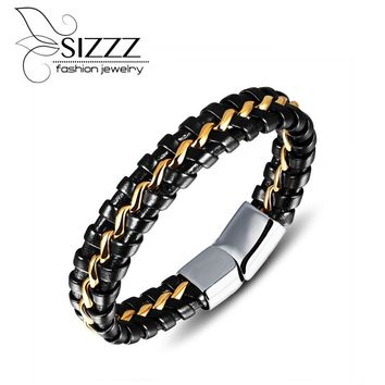 SIZZZ 21cm Long 13mm Wide European and American personalized leather bracelet new version of the black leather bracelet for men