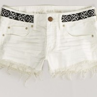 AEO 's Beaded Denim Shortie (Cream)