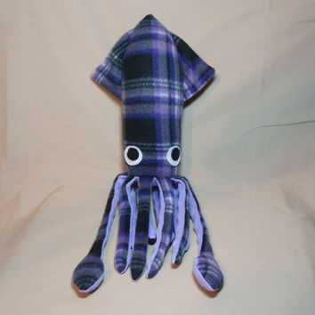 Bonnie McSquidlan the Purple and Black Plaid Fleece Squid - Stuffed Plush Ocean Marine Animal