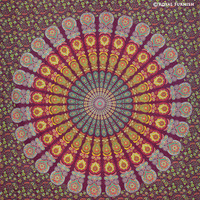 Queen Multicolor Cool Floral Mandala Hippie Tapestry Wall Hanging on RoyalFurnish.com
