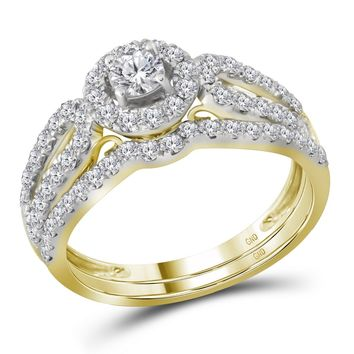 14kt Yellow Gold Womens Round Diamond Halo Split-shank Bridal Wedding Engagement Ring Band Set 1.00 Cttw (Certified)