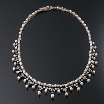 Antique Pearl and Diamond Necklace